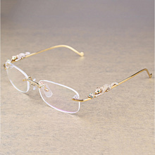 Fashion Leopard Rimless Clear Glasses Men Transparent Stone Reading Frame Luxury Eyewear Accessories Retro Oculos 086