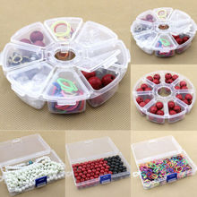 Home Storage Boxes NEW Round 8 Grid Clear Plastic Box Jewelry Bead Storage Container Craft Home Organizer mini clear plastic small box jewelry earplugs storage box case container bead makeup clear organizer gift