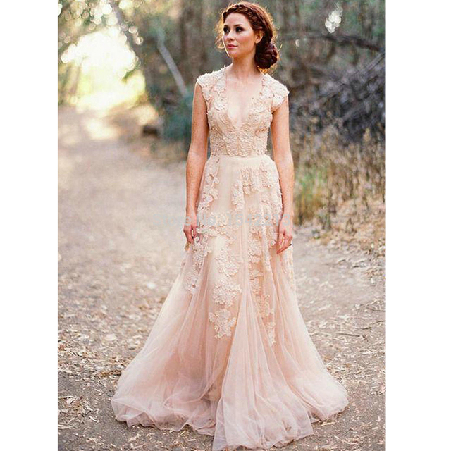 Blush Lace Wedding Dresses 2017 A Line Bridal Gowns Vintage Country Garden