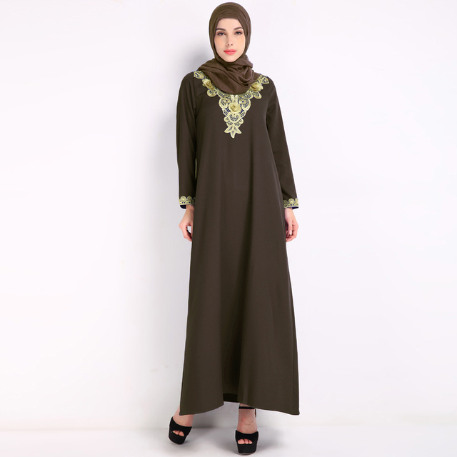 c4864ed5da Elegant Women Long sleeve Dubai Muslim Dress Vintage Embroidey Summer Maxi  Dress Clothing Robe Kaftan Long Beach Dress Vestidos