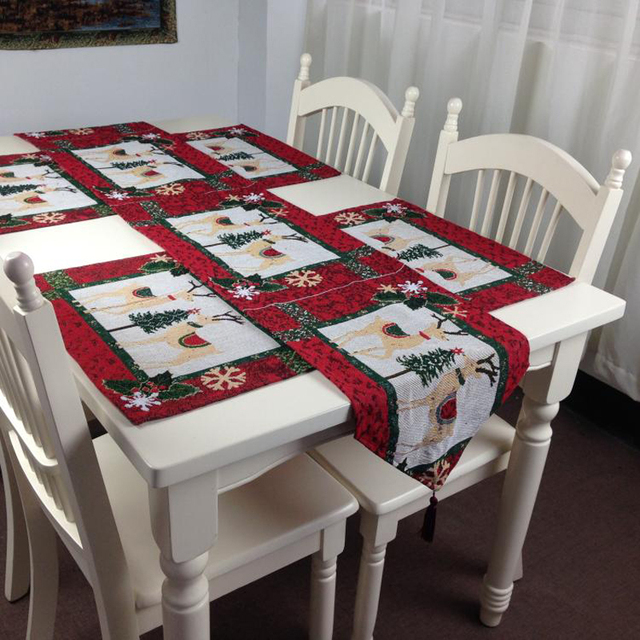 European Christmas Table Runner Set Double Elks Embroidered Polyester And Cotton Cloth Table Runner Mat Home & European Christmas Table Runner Set Double Elks Embroidered ...