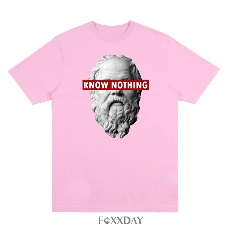 T-shirt Priest's statue printing T-shirt The letters KNOW NOTHING Tee shirt Men about the creative Male tops Camisetas
