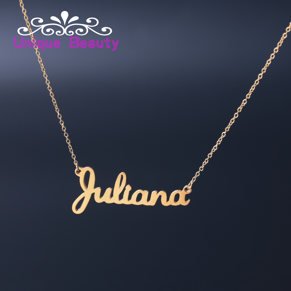 US $24 99 |Fashion Women Name Necklace Customized Gold plate 925 Solid  Silver Custom Your Name Font Banner Personalized Jewelry-in Pendant  Necklaces