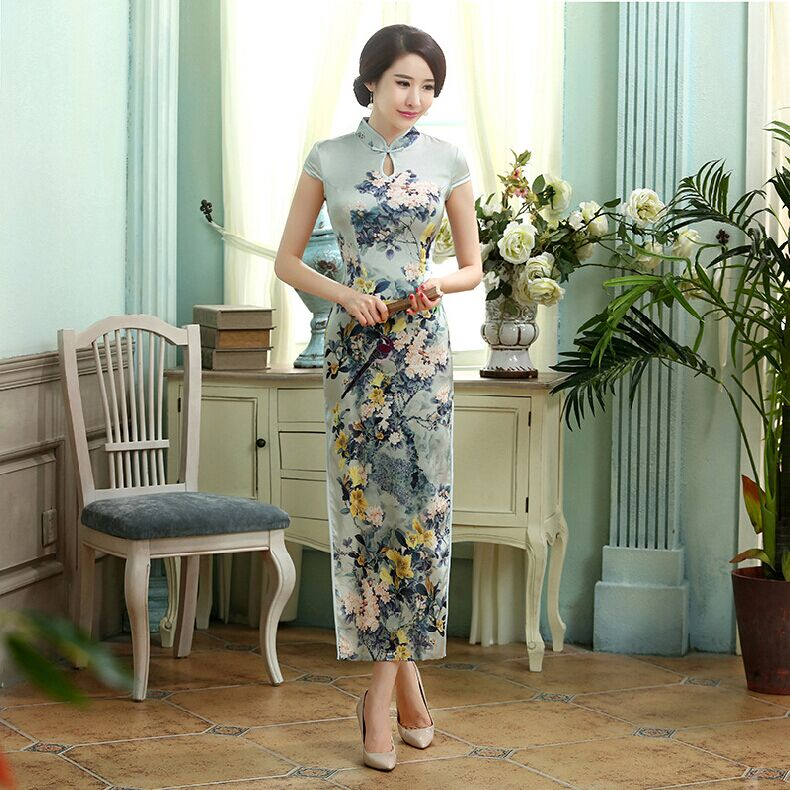 Summer New Chinese Lady Long Slim Satin Cheongsam Women Elegant Flower Qipao Short Sleeve Casual Dress Size S M L XL XXL C0017 s xl 2016 new summer