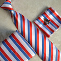 Lingyao 2017 New Fashion Necktie Set Unique Formal Ties Sets White Red Blue Striped Tie with Cufflink Handkerchief in Gift box