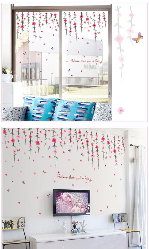 Permalink to Home Decor Romantic Art Wall Decal Flower Rattan Paster Removable Sticker Home Decor New wall sticker Home Deco mirror JU31