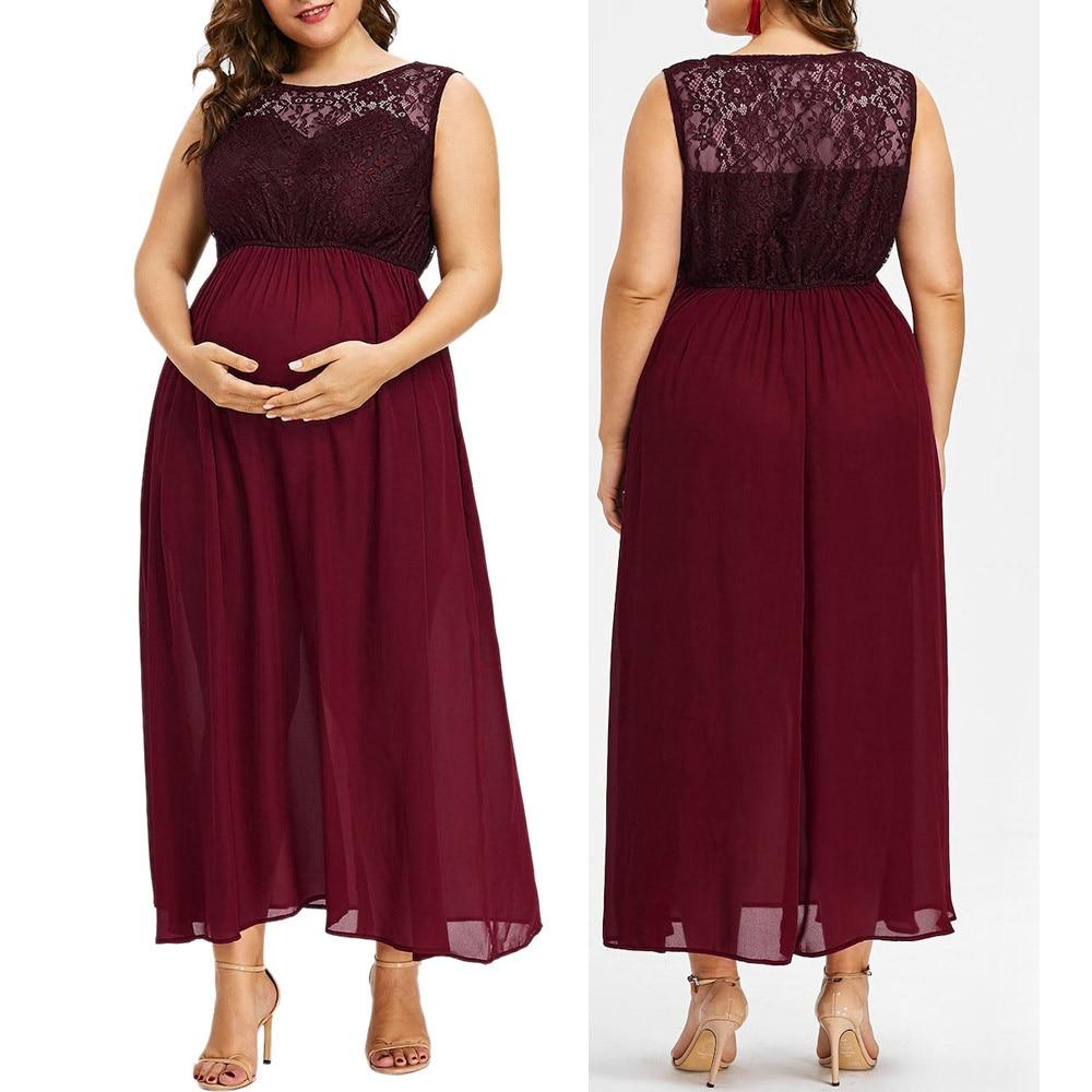 c1774647e164c Detail Feedback Questions about Women O Neck Plus Size Pregnant Maternity  Dresses Sleeveless Nursing Dress Lace Chiffon Pregnancy Dress Hamile Elbise  on ...