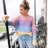 MUXU fashion harajuku rainbow sweater women sweaters and pullovers long sleeve chompa knitted sueteres mujer de moda