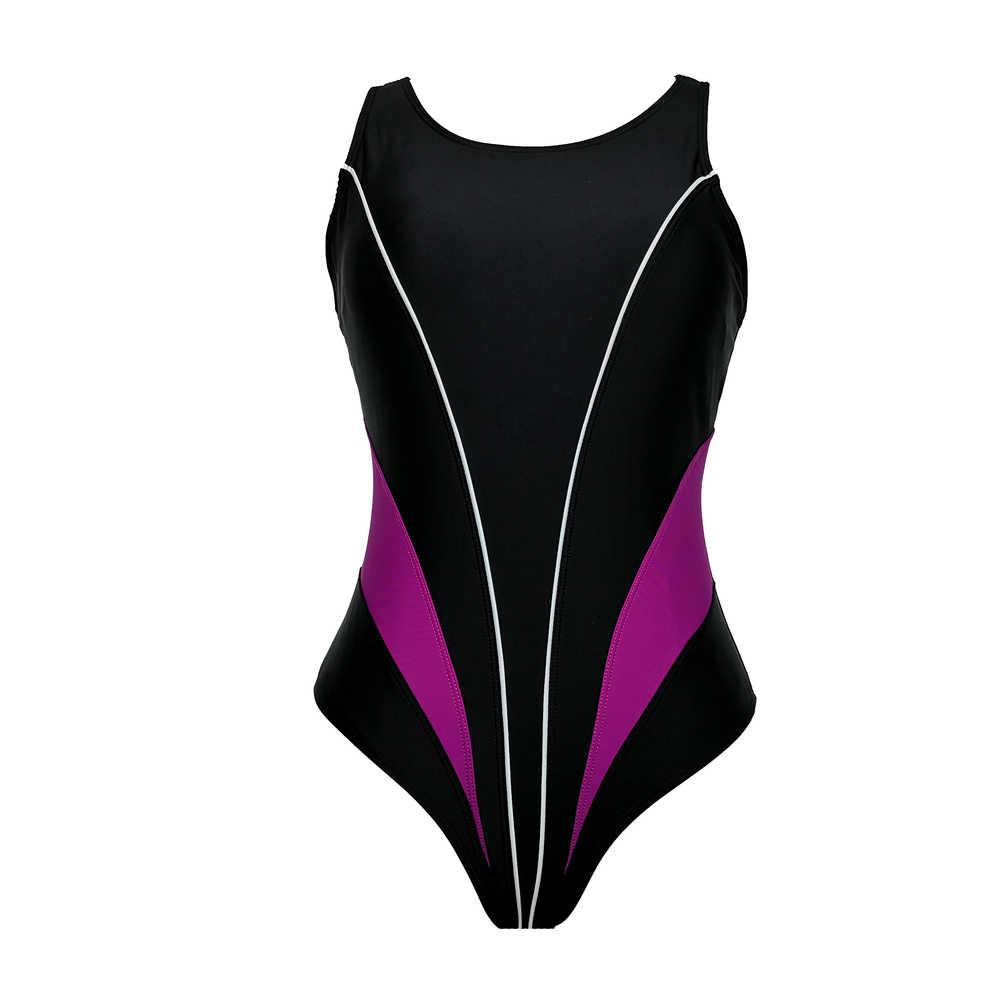 Baru 2019 Olahraga One Piece Swimsuit Pelangsing Baju Renang Wanita Baju Renang untuk Wanita Patchwork Pakaian Renang Monokini Hitam