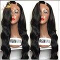 7A sin procesar de la virgen u brasileño parte peluca onda del cuerpo u parte pelucas de cabello humano con el lado flequillo lateral izquierda upart pelucas para mujeres negras