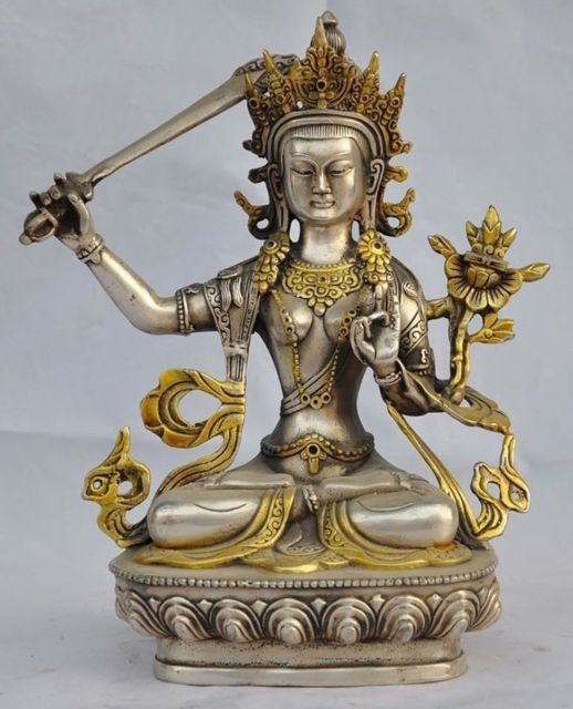 8.07 inch/Chinese Hand-Carved Tibetan Silver Gilded Tara Buddha Statue8.07 inch/Chinese Hand-Carved Tibetan Silver Gilded Tara Buddha Statue