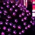 New Hot 21ft 50 LED Solar Luzes Cordas de Fadas Roxo Blossom Jardins Decorativos, gramado, pátio, Árvores de natal, casamentos, partes