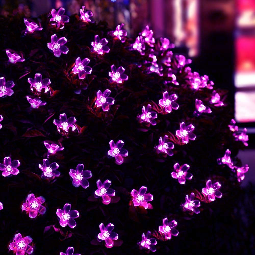 new hot solar fairy string lights 21ft 50 led purple blossom decorative gardens lawn patio christmas trees weddings parties in solar lamps from lights