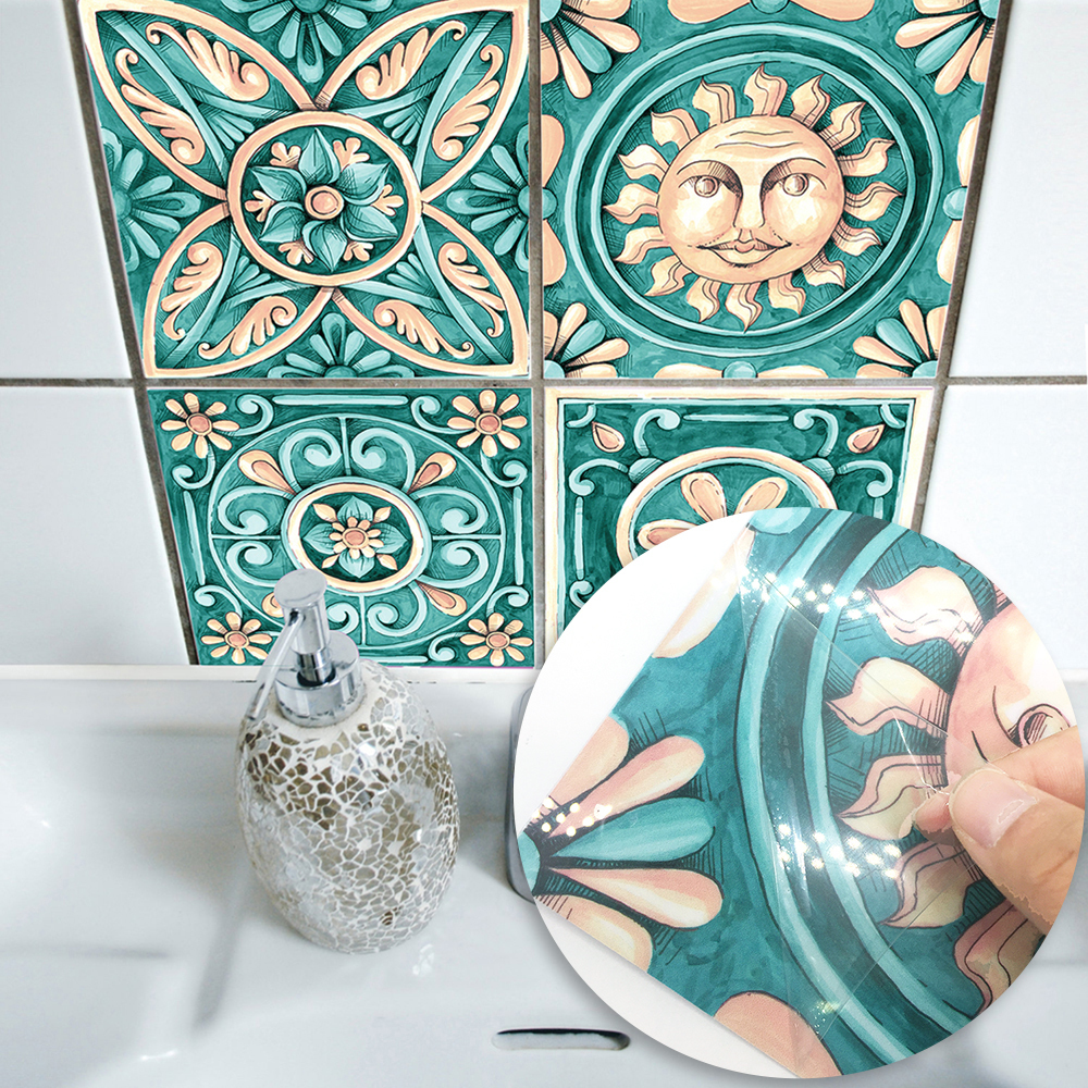 3D Itely Majolica Tiles Sticker Wallpaper Self Adhesive Bathroom Furniture Waterproof Kitchen Easy To Clean Stickers Home Decor