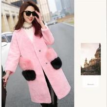 2016 Winter Fur Coat Europe America Women's Fashion Temperament High-end New Imitation Water Ripple Sheared Sheep Lambs Wool Fur