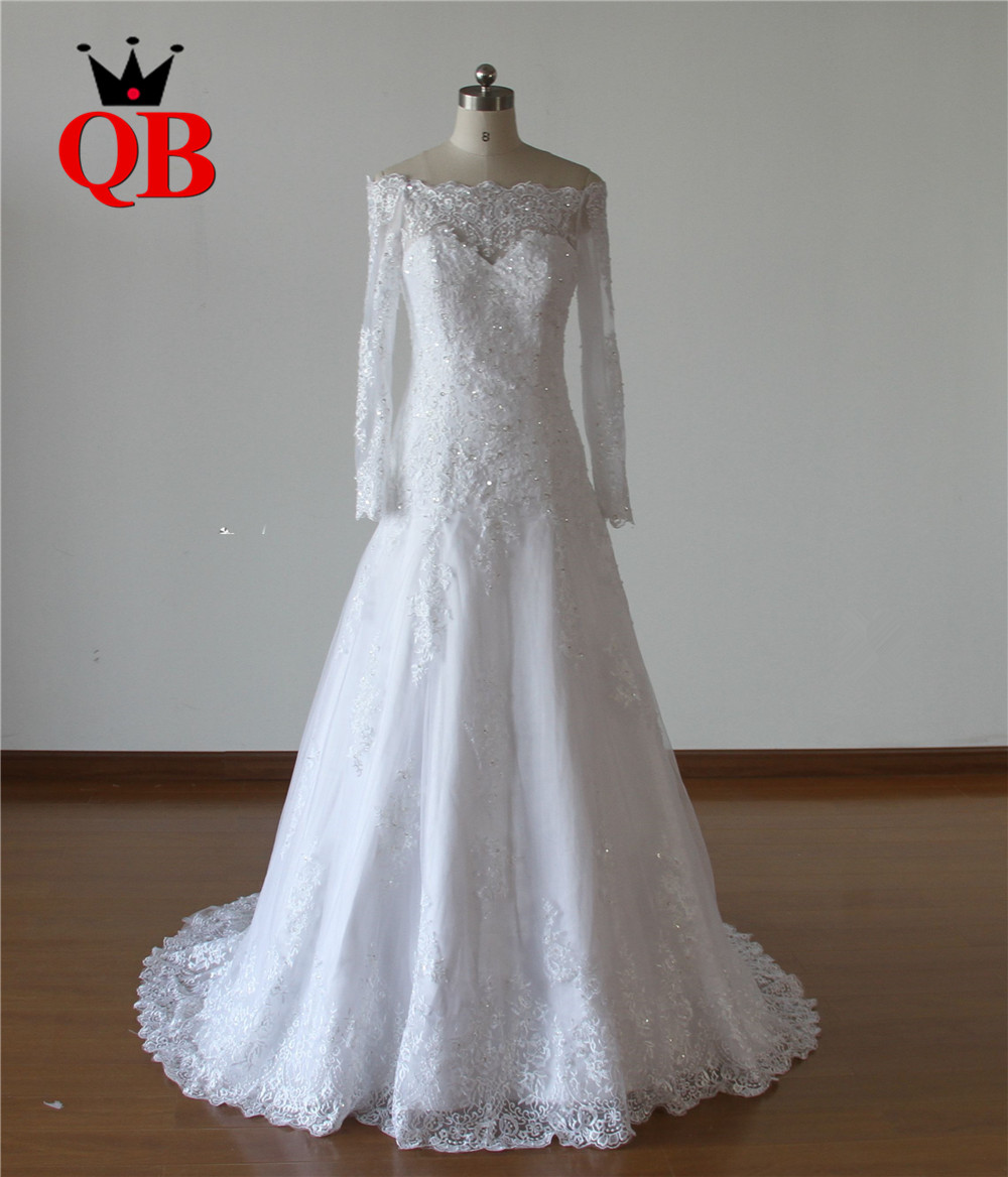 Custom Made A-line Lace Beading Long Sleeve Romantic Formal Wedding Dresses Vestido de Noiva QUEEN BRIDAL Real Photos QB48