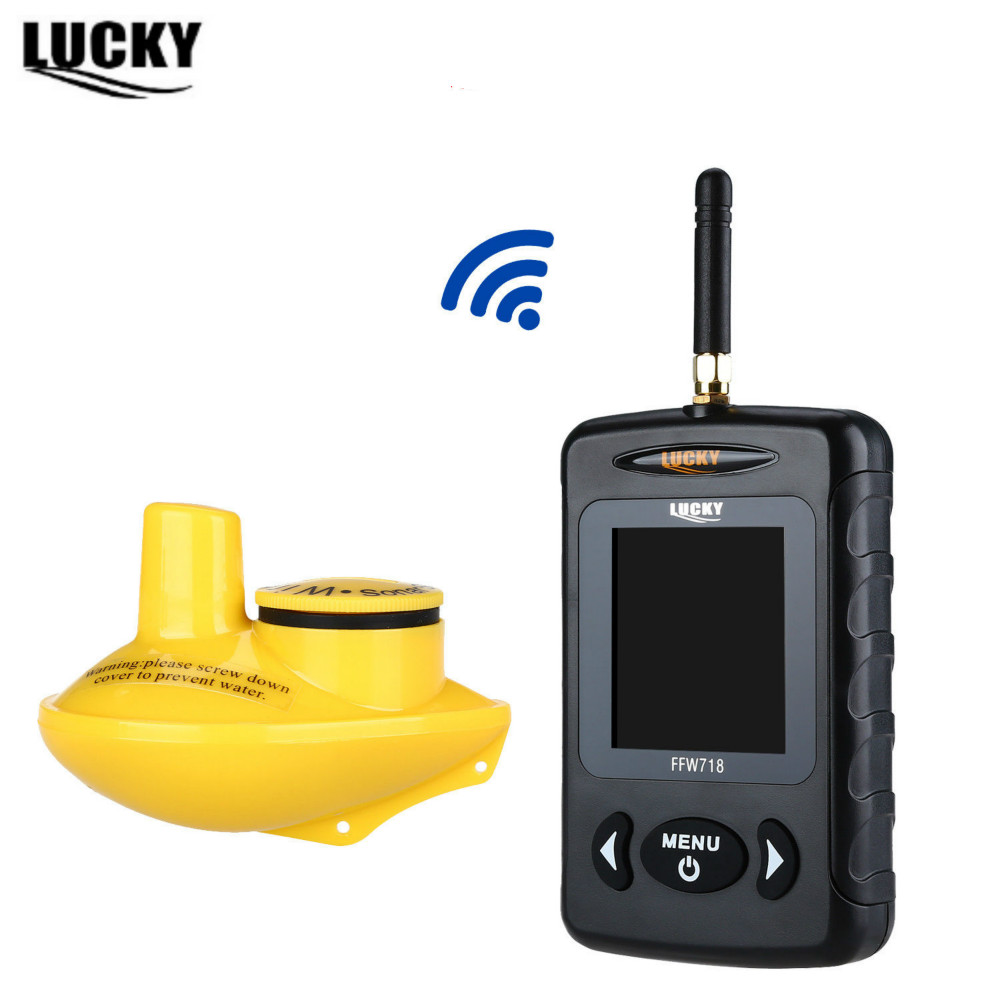 LUCKY FFW718 Wireless Russian Fish Finder Underwater 45M/135FT White LED Sonar Depth Sou ...