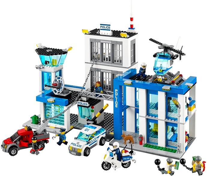 City Police Station motorbike helicopter Model building kits compatible with legoings city 60047 blocks Educational font