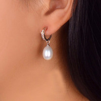 925 Sterling Silver Jewelry Fashion Pearl Earrings 100 Real Natural Pearl 8 9mm Water Drop Earrings