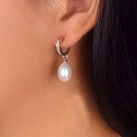 925 Sterling Silver Jewelry Fashion Pearl Earrings 100 Real Natural Pearl 8 9mm Water Drop Earrings