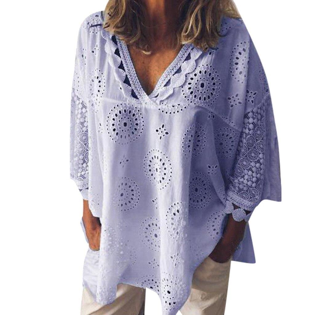 Plus Size Tops T camisas de Linho Mulheres Oco Out Lace Patchwork S-5XL Túnica Camisa Meia Manga Tamanho Grande blusas mujer de moda 2019