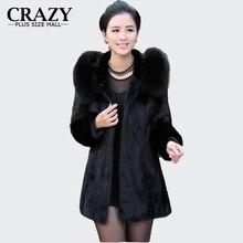 2016 S – 6XL Women Winter Hooded Fake Fur Coats Plus Size 5XL 4XL Vintage Artificial Black Faux Fox Fur Coat With Hood Big Size