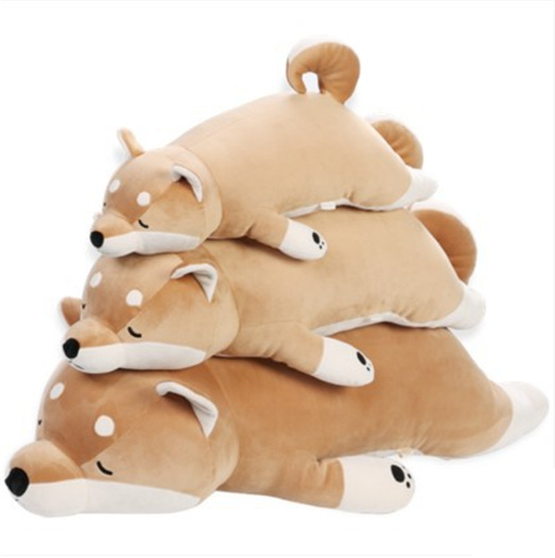 80/100cm Cute Short Legs Shiba Doll Cute Dog Akita Dog Plush Toy Shiba Inu Pillow Girl's Gift qwz1pcs 25cm cute wear scarf shiba inu dog plush toy soft animal stuffed toy smile akita dog doll for lovers kids birthday gift