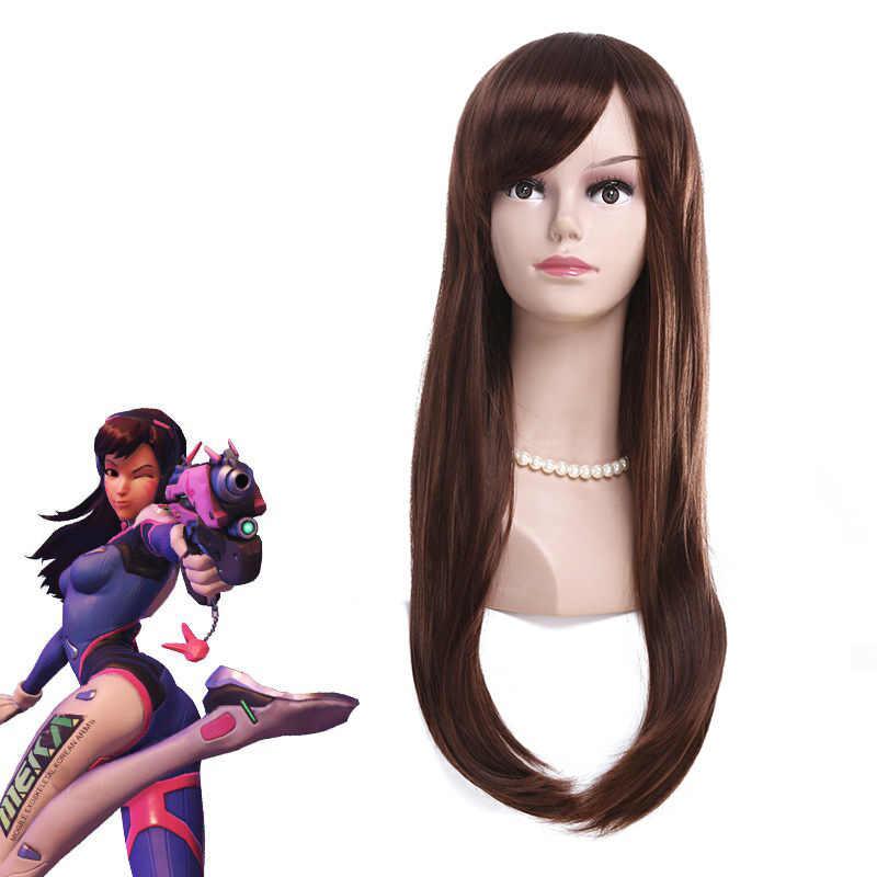 Juego OW Overwatch DVA D. va marrón 70cm de largo Hana Song resistente al calor pelo sintético utilería para Cosplay o día de Brujas fiesta + gorra de peluca gratis