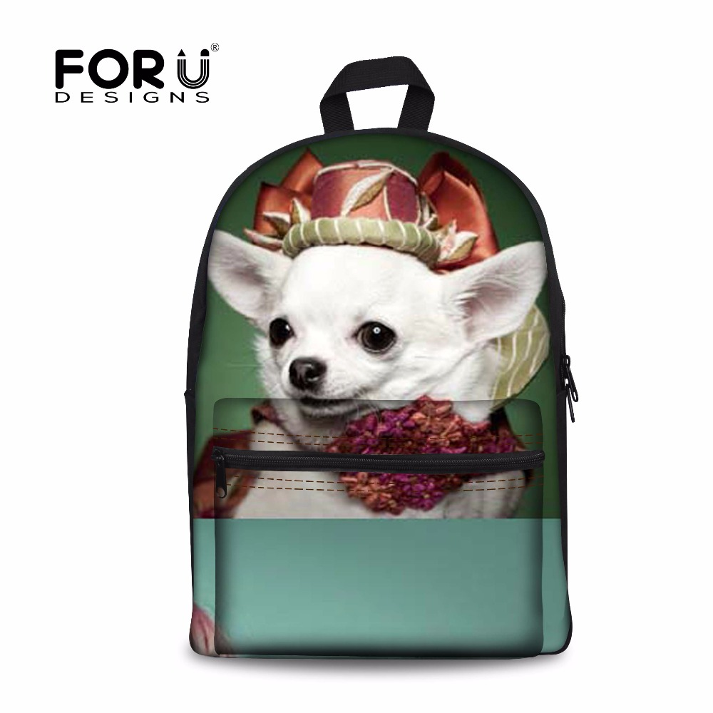 FORUDESIGNS Animal Prints School Bag For Teen Girls Boys 3D Chihuahua Dog Women Book Schoolbag Canvas Backpack Mochila Escolar delune new european children school bag for girls boys backpack cartoon mochila infantil large capacity orthopedic schoolbag