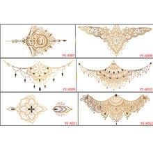 2016 6PCS Sexy chest jewelry tattoo BIG Size 295MM x 130MM Body Art tatoo Temporary Tattoo Exotic Sexy Tattoo Stickers