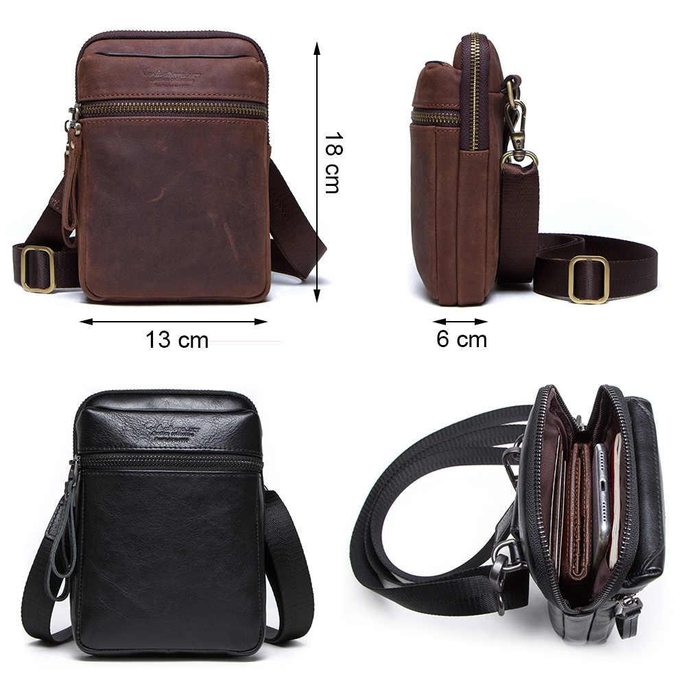 CONTACT'S талия сумка для мужчин 100% натуральной кожи с карманом для телефона и карт обложка для паспорта дорожные сумки 2019