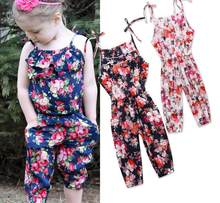 Kids Girls Summer Spring Denim Jeans Romper Jumpsuit Overalls 2019 New Toddlers Girls 8 Style Color Floral Velvet One Piece(China)