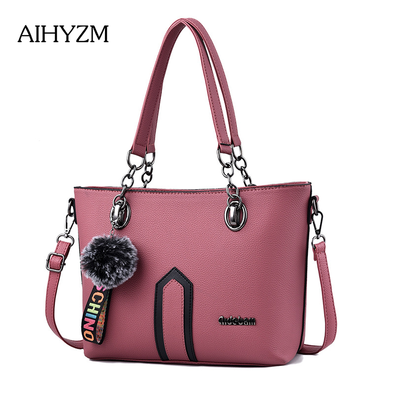 8e3d7935aa0f AIHYZM Brand New Fashion Handbag Pu Leather Large Shoulder Bag Hair Ball  Handbag Women Bag Designer