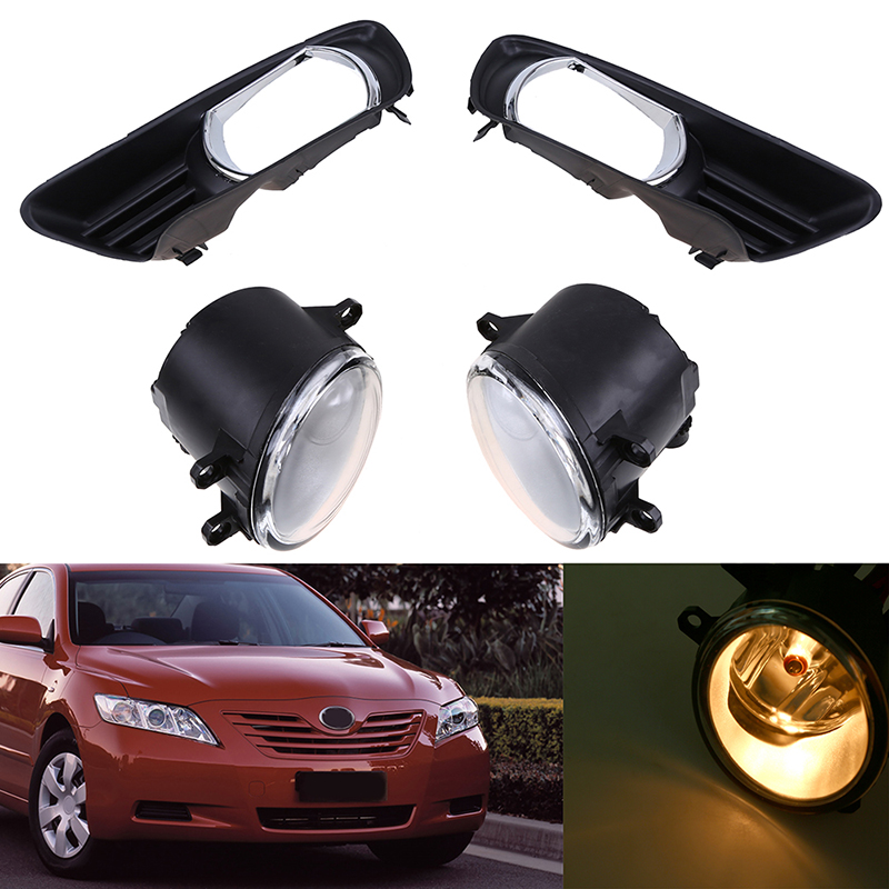 цена на POSSBAY For Toyota Camry XV40 2007-2009 Pre-facelift Front Lower Bumper Racing Grills + 2 Pcs Front Left Right Fog Light Lamp