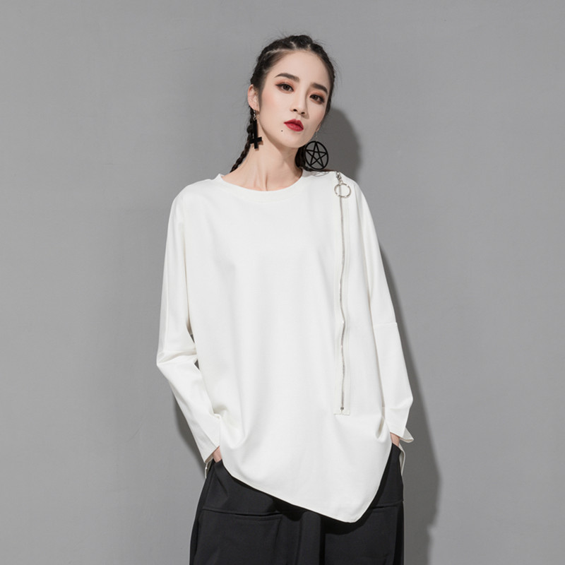 [EAM] 2020 New Spring Autumn Round Neck Long Sleeve Black Oblique Zipper Irregular Hem Big Size T-shirt Women Fashion Tide JQ706 8
