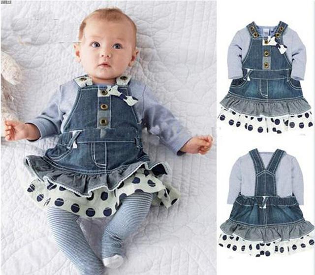 Roupas de bebê crianças bonito saia jeans + de manga comprida T - shirt ropa bebe infantil conjunto