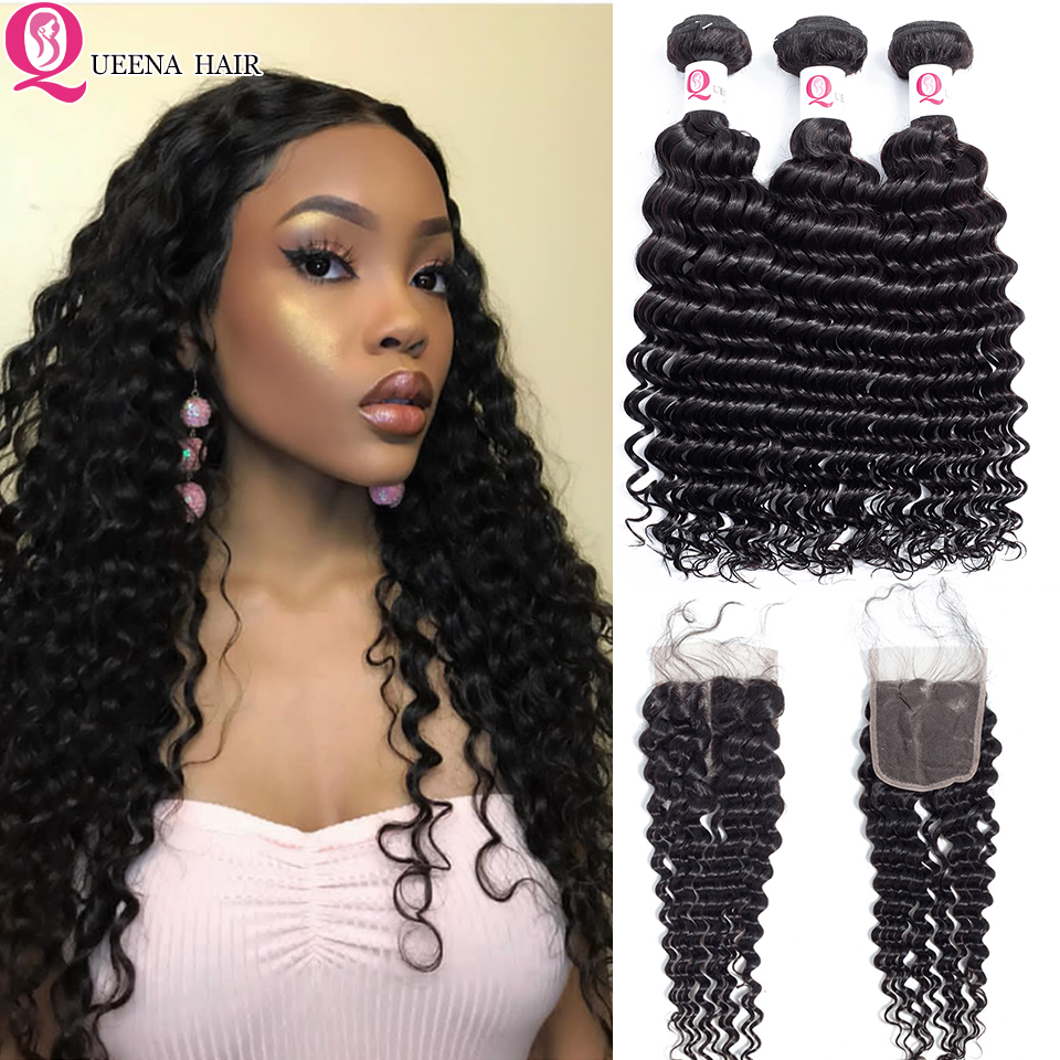 Queena Peruvian Deep Wave Bundles With Lace Closure Natural Black Deep Curly Virgin Human Hair Bundles With Closure Affordable