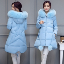2016 winter women coat Hooded Plus velvet keep warm down jackets Ladies Fashion Loose plus size Parkas Female Casual pink coat