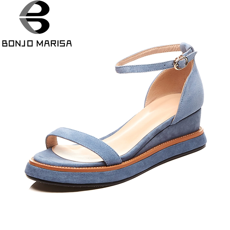 BONJOMARISA Plus Size 34-40 Brand New Kid Suede Genuine Leather Mix Color Women Shoes Platform Summer Sandals Women ribetrini summer large size 34 40 cow genuine leather woman shoes mix color leisure flats women shoes sneakers
