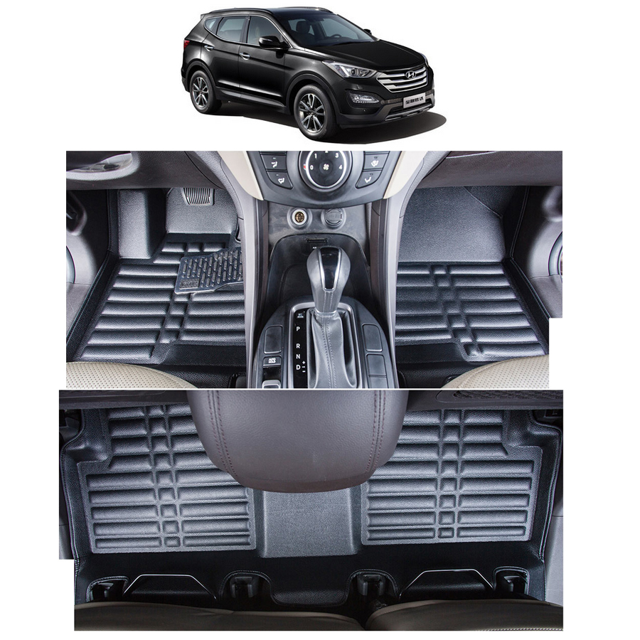 lsrtw2017 leather car floor mat carpet rug for hyundai santa fe 2008 2009 2010 2011 2012 2013 2014 2015 2016 2017 2018 styling in Floor Mats from Automobiles Motorcycles