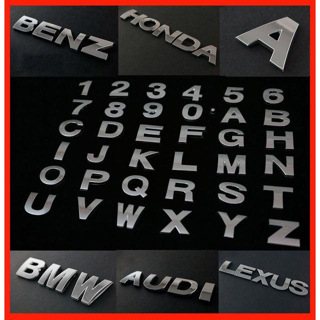 Car auto chrome metal diy silver 3d arc letters digital alphabet emblem decoration car stickers logo