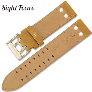 Image 4 - 22mm fou cheval veau cuir sangles pour Hamilton Zenith Seiko bracelet de montre Rivet militaire pilote kaki champ Aviation montre ceintures