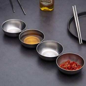 1Pc ze stali nierdzewnej przyprawy sosjerka małe naczynie Dip miska boczne talerze masło talerz sushi ocet sojowe naczynia kuchenne spodek