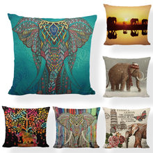 Geometric Indian Elephant Mandala Statue Roses Cushion Cover 17*17Inch Sunset Senic Striped Living Room Office Couch Decorate