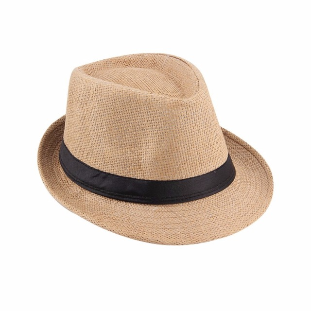 1pcs Womens Mens Fedora Trilby Gangster Cap Summer Beach Sun Straw Panama  Hat with Ribbow Band b8f42d862113