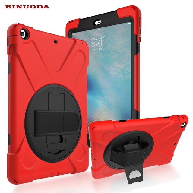 For Ipad Air Cases Built In Stand Holder Hand Strap 360 Degree Rotatable Pc Rugged