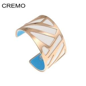 Image 4 - أساور و أساور من Cremo واسعة من الجلد قابلة للتبديل أساور من الفولاذ المقاوم للصدأ للنساء أساور من الصلب