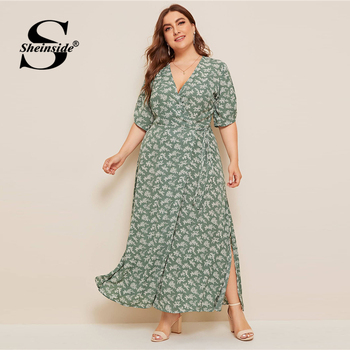 Sheinside Plus Size Boho V Neck Wrap Dress Women 2019 Summer Half Sleeve A Line Dresses Ladies Floral Print Side Slit Maxi Dress