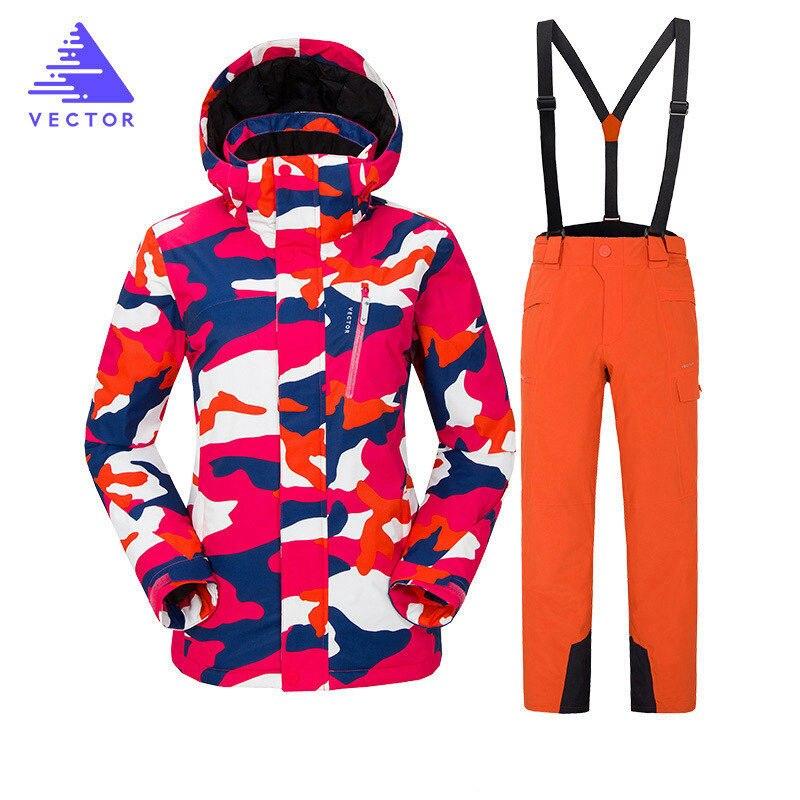 Combinaison de Ski d'hiver pour femmes coupe-vent imperméable Sports de plein air Sports de neige 2019 marque chaude équipement de Ski vestes et pantalons de Ski