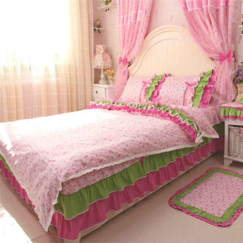 4pcs/set rustic Princess Bedding set 100% cotton ruffle duvet cover bedspread bed sheet for wedding decoration textile bed cover4pcs/set rustic Princess Bedding set 100% cotton ruffle duvet cover bedspread bed sheet for wedding decoration textile bed cover